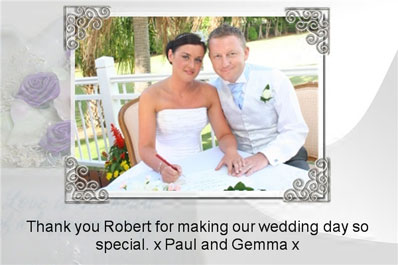 Testimonial image of Gemma and Paul's wedding and thank-you card