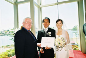Gold Coast Celebrant Robert Moore with Saburo and Yumi at the Sanctuary Cove Wedding