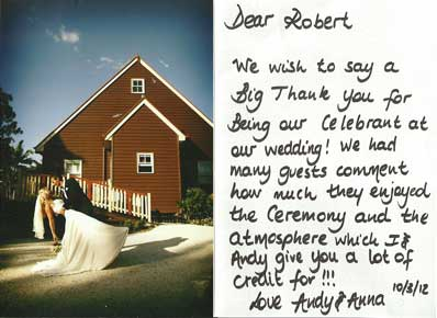 Testimonial from Anna & Andy 2012