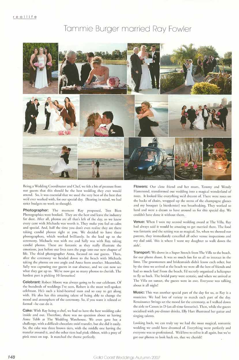 """Feature article from """"Gold Coast Weddings"""""""