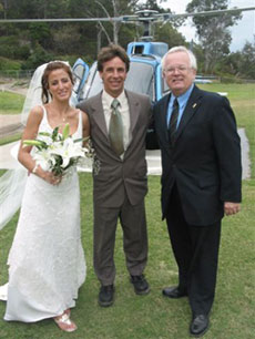 One of the more unusual ceremonies done by Robert - the Clarke wedding , in a helicopter