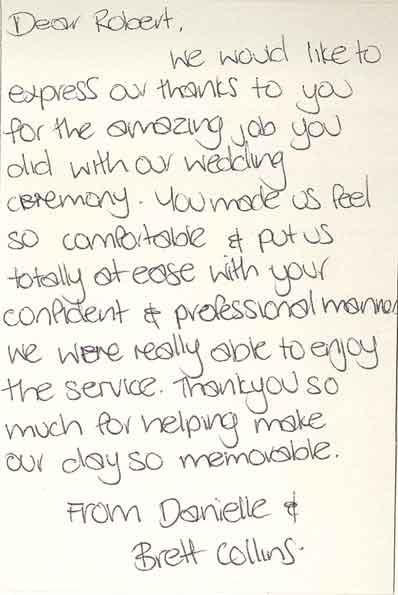 Danielle & Brett wedding testimonial