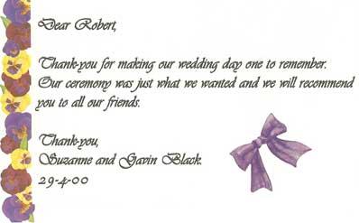 Suzanne & Gavin wedding testimonial