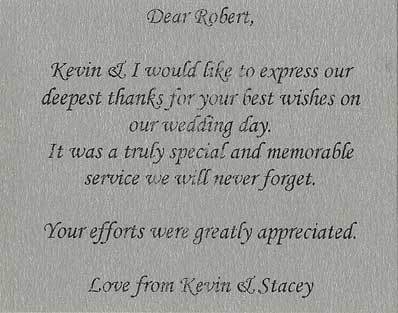 Kevin & Stacey wedding testimonial