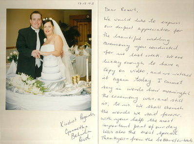 Garreth & Belinda wedding testimonial