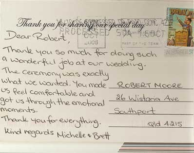 Michelle & Brett wedding testimonial