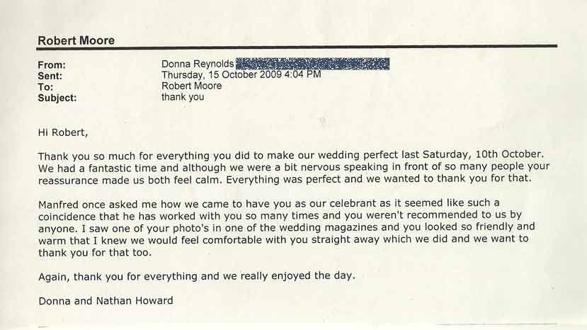 Donna Reynolds Wedding testimonial
