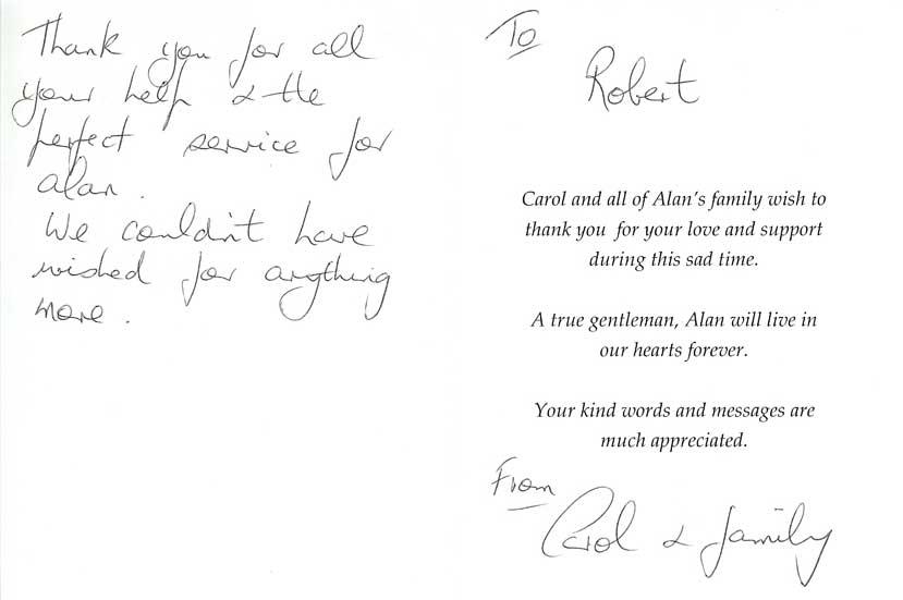 Alan's funeral testimonial