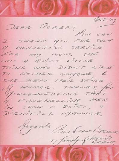 Patricia Grant funeral testimonial