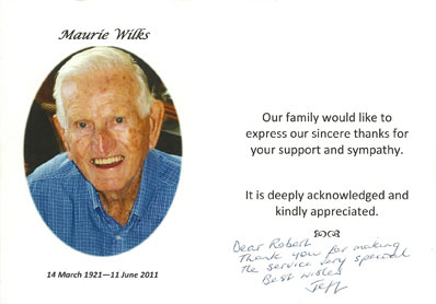 Funeral testimonial for Maurie Wilks
